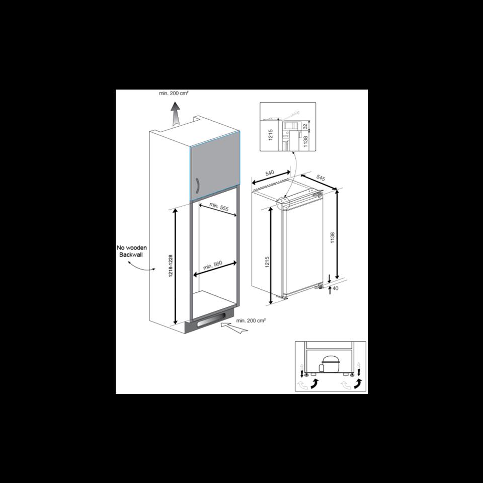 beko einbaukühlschrank 122,BLSA210M3S,einbaukühlschrank 122 cm ...